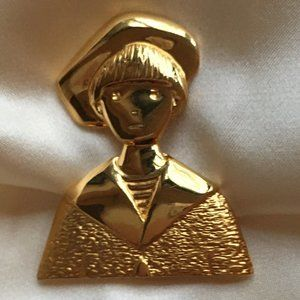 Gold Plated Silver Brooch Jean Paul Lemieux